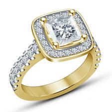 Fashion princess square white zircon gold wedding ring jewelry gift Size 6