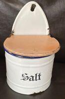 Vtg Antique Enamel Salt Box White German Kitchen Canister Made In Germany