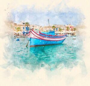 Fishing boats in Marsaxlokk Harbour Malta Watercolour Painting Decor Print