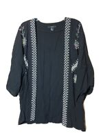 Forever 21 Womens Open Front Kimono Style Top, Embroidered, Size Large