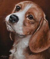 Delightful John Silver Original Oil Painting - Portrait Of A Beagle Dog