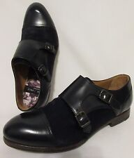 "Paul Smith ""Men Only"" Women's Black Leather Cow Hair Double Monk Strap Loafers"