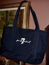 NEW Authentic 7 Seven For All Mankind Blue Dark Wash Denim Zip Tote Shopper Bag