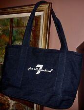 NEW Seven For All Mankind Blue Dark Wash Denim Zip Close Tote Shopper Bag