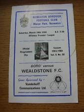 10/03/1984 Nuneaton Borough V Wealdstone (las notas realizadas en línea's, ligeramente Fol