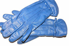 1950`s British Blue Leather Gloves Lined Size 7