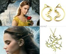 BEAUTY And The BEAST Belle ROSE Tree Ear Cuff EARRINGs Pendant Necklace SET
