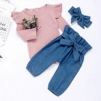 UK Newborn Baby Girls Ruffle Tops Romper Long Pants Hat Outfits Clothes 3Pcs Set