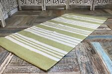 SALE Sage Green and Crisp White Cotton Striped Scandi Skandi Rug 75 x 135 cm
