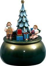 Spieldose Engel am Weihnachtsbaum grün-gold  d = 15 cm NEU Spieluhr Musikdose