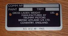 Triumph TR6 Commission Plaque-Série CR Cars-Free p&p au Royaume-Uni