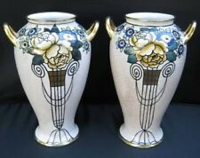 "(Reduced) Pair (2) of Noritake Art Deco Vases 8"" Tall ""M in Wreath"""