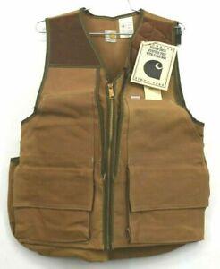 Vintage NOS Carhartt Brown Duck Hunting Full Zip Up Vest Game Bag USA Made VU256