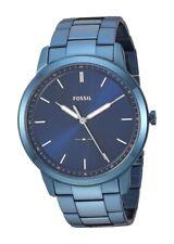 Fossil FS5461 Men's Minimalist Ocean Blue Dial Blue-Steel 44mm Watch