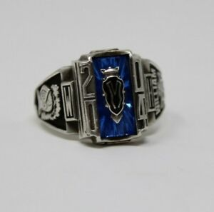 .925 Sterling Silver Class Ring 2004 Inscribed Sapphire Stone BasketBall Ring