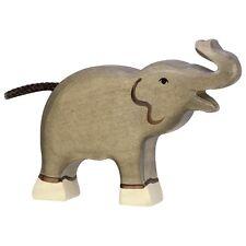 Elefant klein Rüssel hoch 12 cm Holzfiguren Serie Wildtiere Holztiger 80150