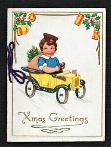 Early  2 fold GIRL WITH TOY CAR Christmas New Year  Greetings Card