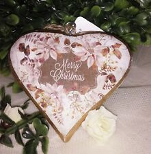 Heart Merry Christmas Tree Ornament Wood Country Cottage Shabby Vintage
