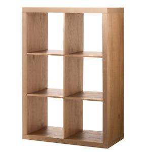 6 Cube Storage Organizer Bookshelf Open Back Design Durable Natural Finish