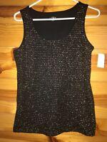 NWT Ann Taylor Loft Women's Black with Gold Sleeveless Top Shirt Size S