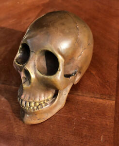 Bronze Skull  Head Statue Sculpture Freaky And Evil Strange Grade B