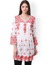 Chikan Embroidery Short KAMEEZ Kurti Eid Special Women Pakistani Kurta Tunic Top