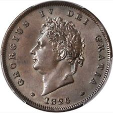 GREAT BRITAIN GEORGE IV 1826  1 PENNY COIN, UNCIRCULATED, CERTIFIED PCGS MS62-BN