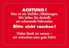 """EICHNER 250 Kundendienst-Aufkleber """" Vorführ- / Mietwagen """" Serviceaufkleber rot"""