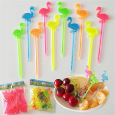 50pcs flamingo dining disposable plastic food cake fruit fork picks skewer seNY