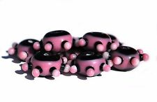 New Purple and Black Fancy Lampwork Glass 8 Piece 18mm Beads SLW4432