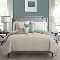 5-piece PASTEL Taupe REVERSIBLE Coverlet QUILT Set KING Size Bedspread Pillows