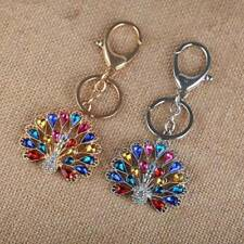 Colorful Rhinestone peacock animal key chains pave car key ring jewelry new