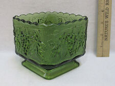 Vintage Anchor Hocking Footed Square Dish Glass Bowl Green Grape Leaf