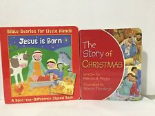 2 PC Lot Jesus is Born & The Story of Christmas Board Book 633 Free Ship