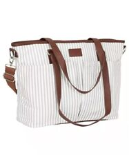 Hip Cub Diaper Bag Gray White Stripe With Changing Pad /Very Stylish For Parents
