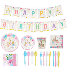 Unicorn Party Supplies Set & Tableware Kit Birthday Decorations Banner Party