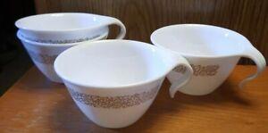 SET OF (4) Vintage Corelle Woodland Brown Hook Coffee  Cups