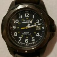 TIMEX EXPEDITION Brown Leather, Blue Face Analog Gunmetal Watch, Indiglo, Date