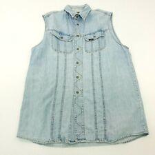 70s Vintage LEE Sleeveless Denim Dress MEDIUM M | Retro Jean Trucker Jacket Coat
