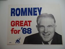 1968 Mich Gov George Romney Presidential Primary Campaign Poster Mitt's Dad