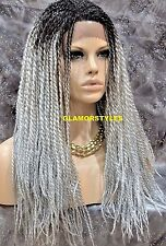 Long Twist Black Grey Mix Box Not Braided Full Lace Front Wig Hair Piece NWT