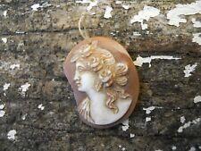 Ancien camée coquillage rose tète de femme 1900 art nouveau