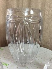"""Hand Cut Lead Crystal Vase With Bow & Ribbon Pattern  Approx. 5lb And  9"""" Tall"""