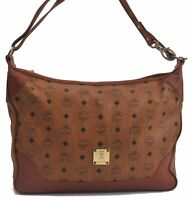 Authentic MCM Cognac Visetos Leather Vintage Shoulder Bag Brown  B7416