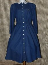 Vintage Act I Long Sleeve Full Circle Denim Dress Made in USA Juniors Size 11-12