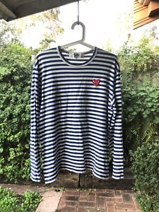COMME des GARCONS PLAY Blue Heart Patch Striped LS Tee, Size L, GUC!