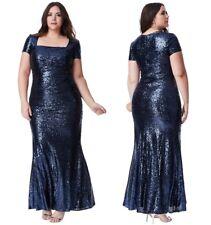 Goddiva Navy Sequin Square Neck Evening Maxi Dress Bridesmaid Prom Party Ball