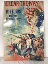 "WWI Tin poster ""Clear-the-Way- Buy Bonds , Fourth Liberty Loan"" 11""x16"""