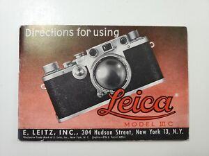 1940's Leica IIIc  Camera Instruction Book Manual NO Reserve