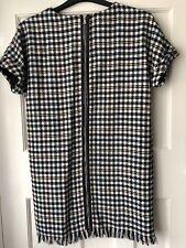 ZARA MULTICOLOUR FRAYED CHECKED TWEED DRESS SIZE UK S BNWT REF.4661/315